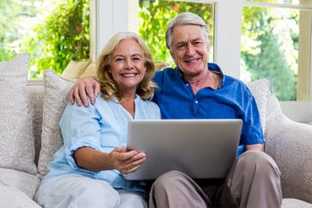Couple with their wireless internet